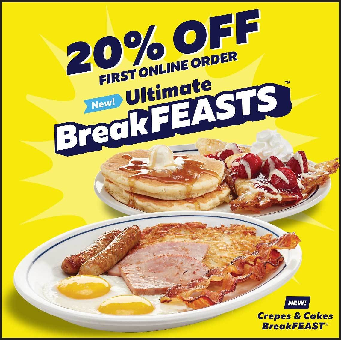 IHOP New Family Feasts and 20% Off!