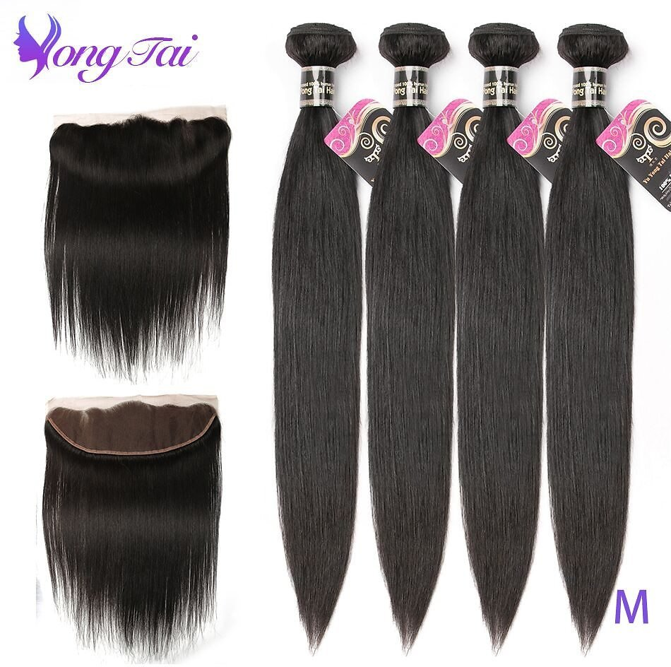 Straight 4 Bundles With 13x4 Lace Front Pre Plucked Non-Remy Human Hair Medium Ratio Weave Natural Color
