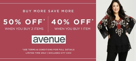 40% Off 1 Item or 50% Off 2 Items | Avenue