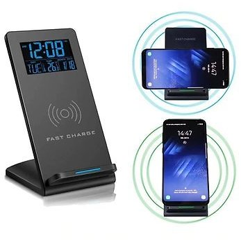 Loskii DC-01S Electric LED 12/24H Alarm Clock With Phone Wireless Charger Table Digital Thermometer Display Desktop Clock Home Decor from Home and Garden on Banggood.com