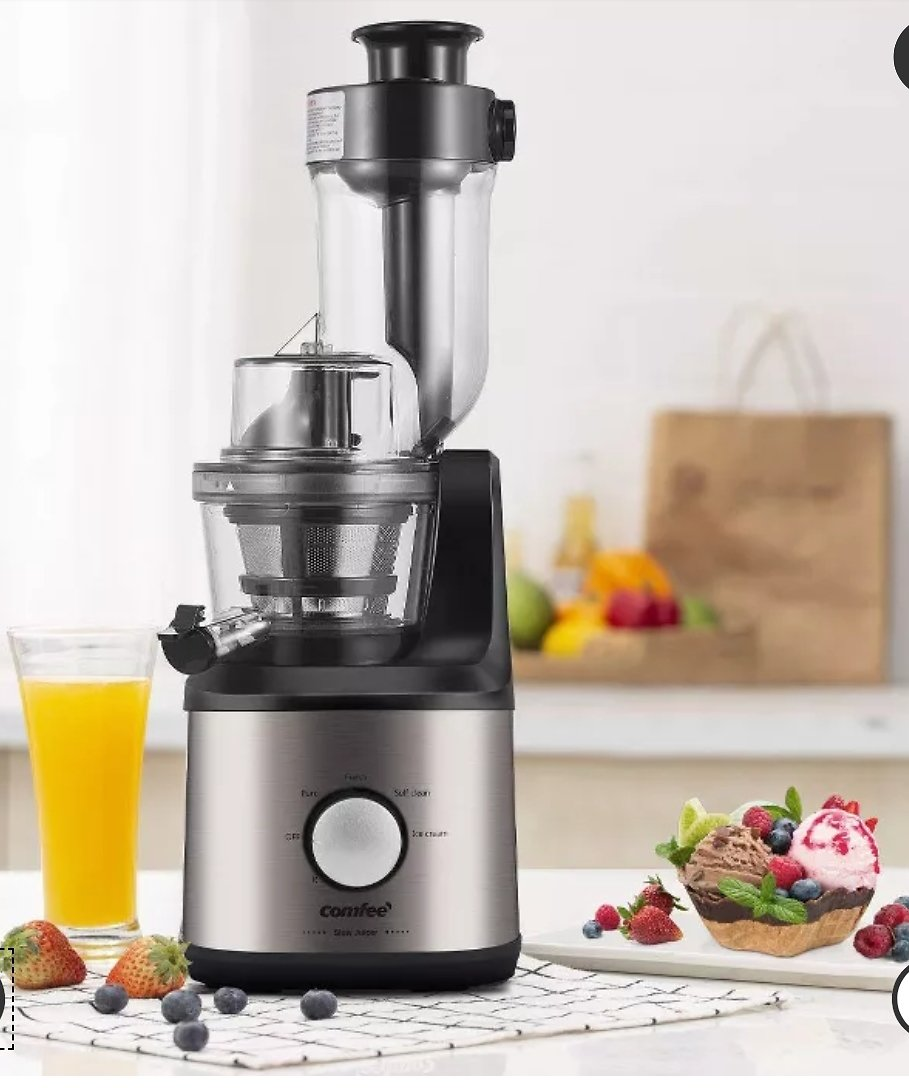 Comfee BPA Free Multi Function Stainless Steel Slow Juicer with Ice Cream Maker