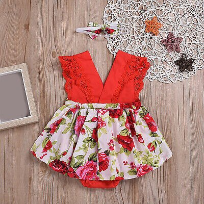 Ruffle Red Lace Romper Dress Baby Headband Party Dresses For Toddler Costume | eBay