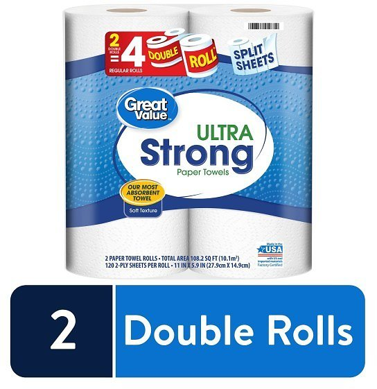WALMART: Great Value Ultra Strong Paper Towels, Split Sheets, 2 Double Rolls $3.67 + Store Pickup
