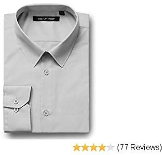 40% OFF Verno Mens Dress Shirts Trim Fit Long Sleeve Business Casual Shirts Spread-Collar Solid Shirt for Men