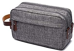 Travel Toiletry Bag, Laajar Bathroom Water-reistant Shaving Dopp Kit Organizer Bag with Double Compartments for Business Trip Vacation, Grey