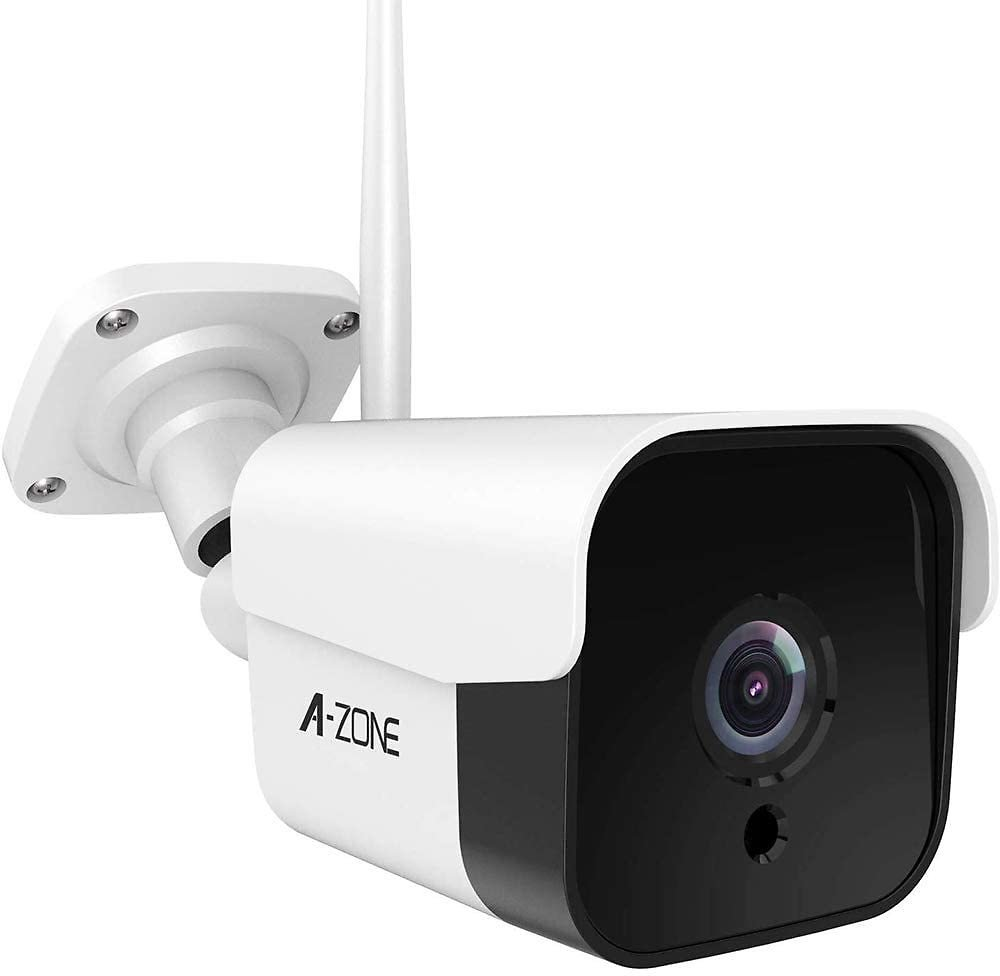 AZONE Outdoor Security Camera - 3MP Bullet Door Camera IP66 Colorful Night Vision Home Surveillance System, Work with Alexa, WiF
