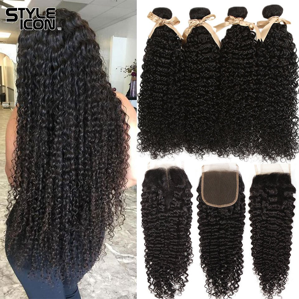 Kinky Curly Bundles With Closure Curly Human Hair Bundles With Closure Styleicon 3 Bundles Curly Bundles With Closure