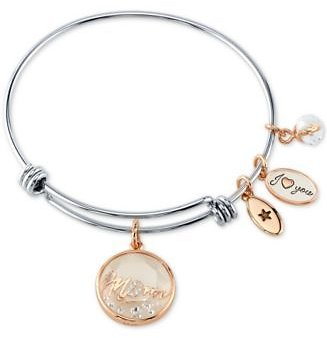 Unwritten Crystal Mom Shaker Charm Bangle Bracelet in Stainless Steel & Rose Gold-Tone & Reviews - Bracelets - Jewelry & Watches