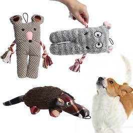 3pk Dog Toys By Patchwork Pet - Plush Animals w/ Squeaker Inside