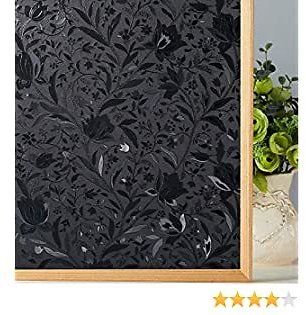 Coavas Privacy Window Film Black Opaque Window Film Total Blackout Window Film Room Darkening Window Cling Decorate Rental Room/Home &Office Anti UV/Heat Insulation/Privacy (17.7 By 78.7 Inches)