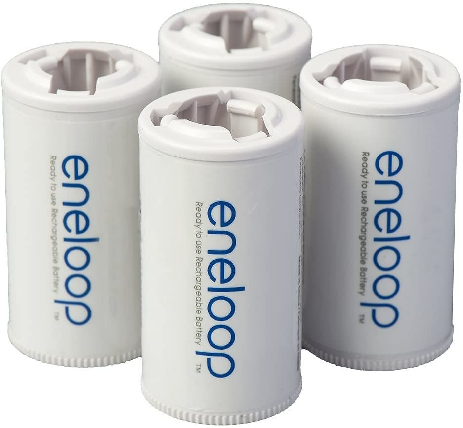 Panasonic BQ-BS2E4SA Eneloop C Size Battery Adapters for Use With Eneloop Ni-MH Rechargeable AA Battery Cells, 4 Pack: Home Audio & Theater