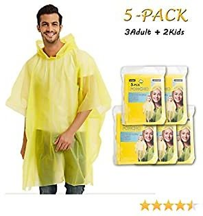 5PACK Disposable Rain Ponchos Perfect for Outdoor Activities Hiking,Camping,Travel, Concerts, (3 Adult +2 Kids, Yellow)