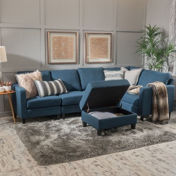 Zahra 6-piece Fabric Sofa Sectional with Storage Ottoman By Christopher Knight Home - Blue