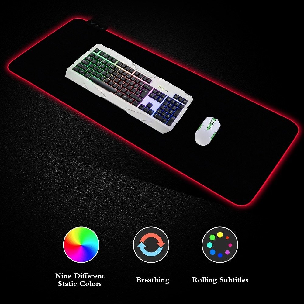 Led Mouse Pad Large Gaming Mouse Pad RGB LED Lighting 7 Colorful Mousepad Mouse Mat Computer Lock Edge Extended Keyboard For PC