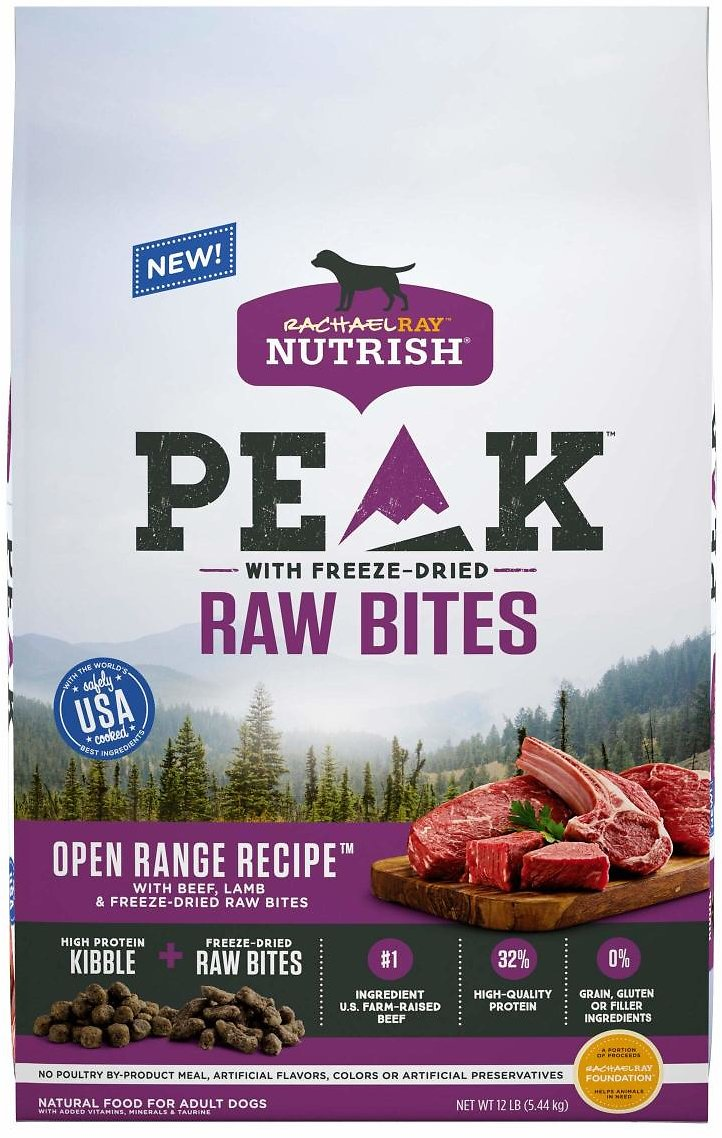 Rachael Ray Nutrish PEAK Natural Dry Dog Food with Freeze Dried Raw Bites, Open Range Recipe with Beef & Lamb, 12 Pounds, Grain Free