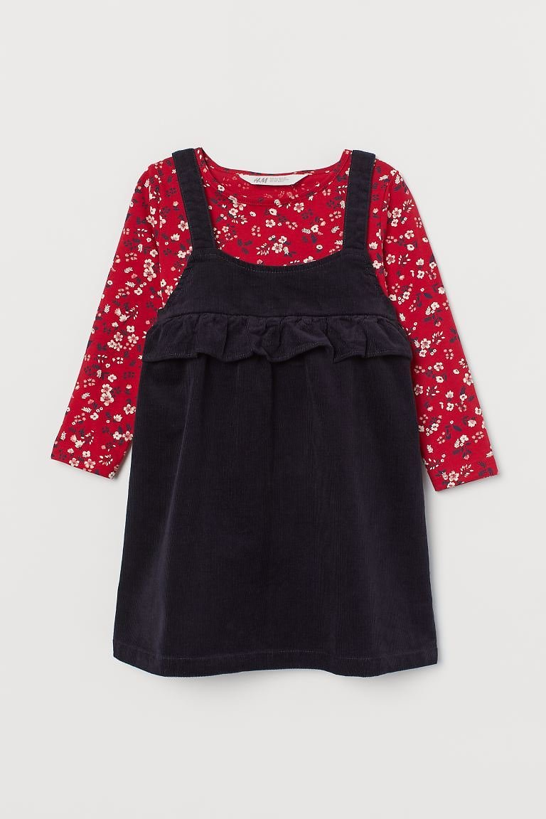 Overall Dress and Top - Dark Blue/floral - Kids | H&M US
