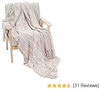 """DECOMALL Decorative Throw Blanket with Fringe Soft Striped Multi Color Throws for Couch Sofa Armchair Bed 50""""x 60"""", Beige Multi"""