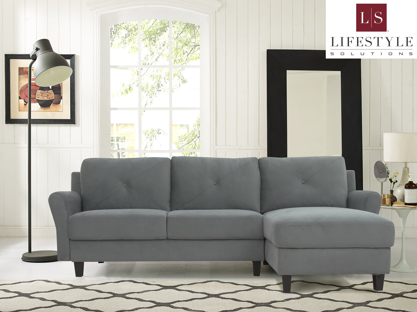 Lifestyle Solutions Taryn 3 Seat Sectional Sofa