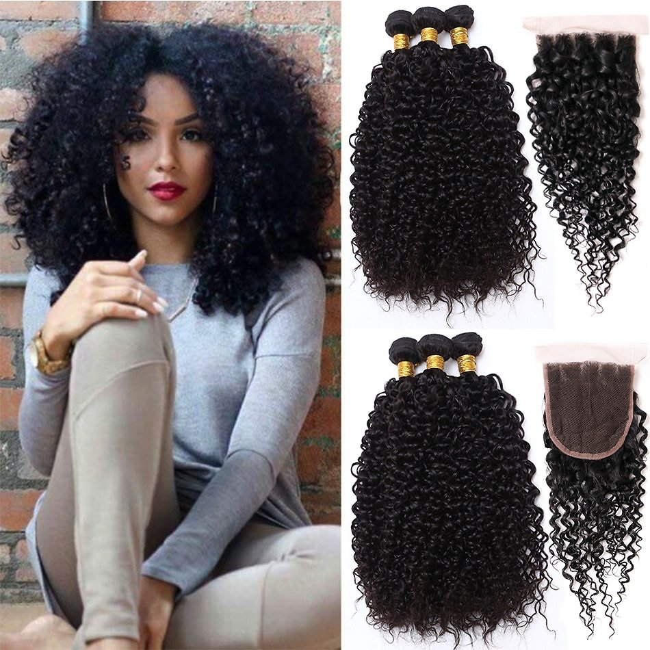 Curly Hair With Closure Wet and Wavy Human Hair Bundles With Closure Curly Malaysian Kinky Curly Hair