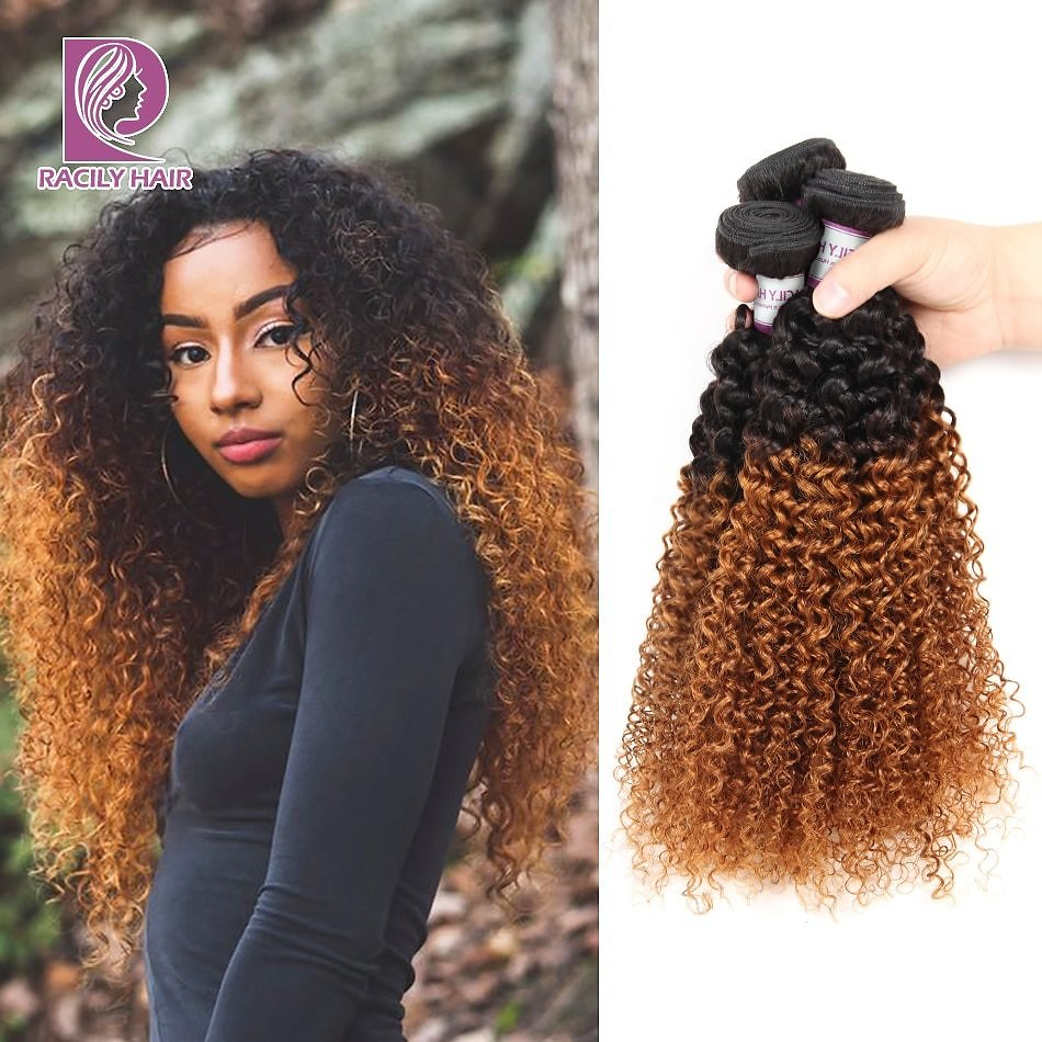 Ombre Hair Bundles Brazilian Kinky Curly Hair Weave Bundles Remy T1B/30 Brown Burgundy Ombre Human Hair Extensions