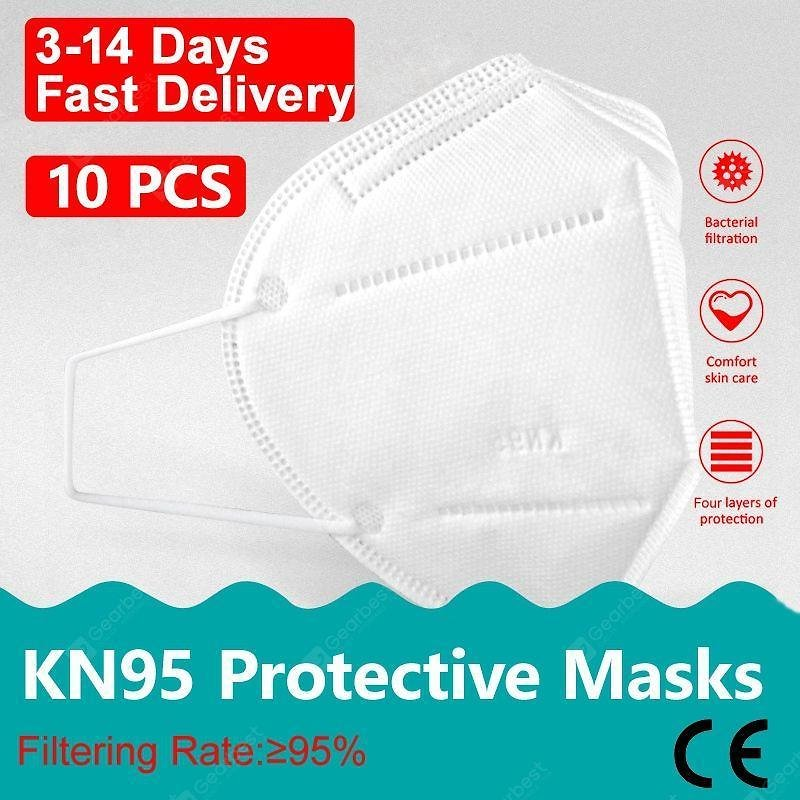 10PCS KN95 N95 Non-medical PM2.5 Dust Face Mask Pollution Protection 4-Layer with Melt-blown Filter | Gearbest