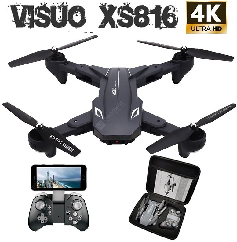 Visuo XS816 RC Drone with 50 Times Zoom WiFi FPV 4K Dual Camera Optical Flow Quadcopter Selfie Drone Sale, Price & Reviews   Gearbest