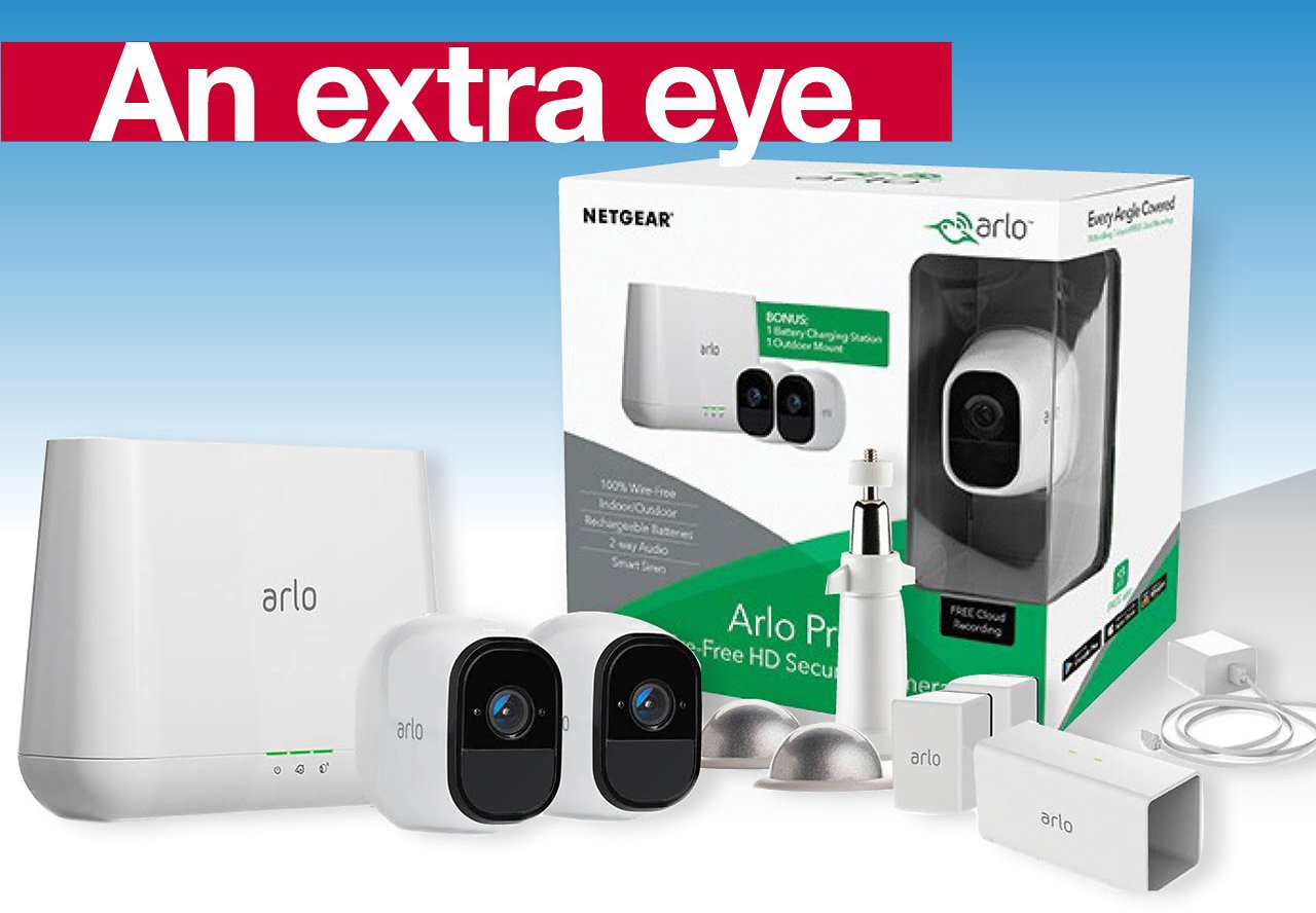 Arlo Pro Wire-Free HD Smart Security Camera, 2 Pk with BONUS Battery Charging Station & Outdoor Mount ($85 VALUE)