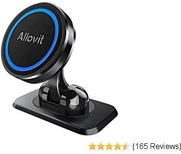 Magnetic Phone Car Mount, Allovit Universal Cell Phone Holder for Car, 360° Adjustable Magnet Cellphone Holder Compatible with IPhone 11 Pro Xs Max XR X 8 7 Plus 6S SE, Galaxy S9 and More