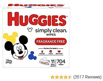 704-Ct Huggies Simply Clean Unscented Baby Wipes