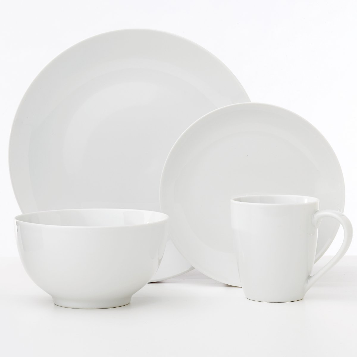 Safdie & Co. 16-Piece Coupe Classic Oxford Dinnerware Set, White