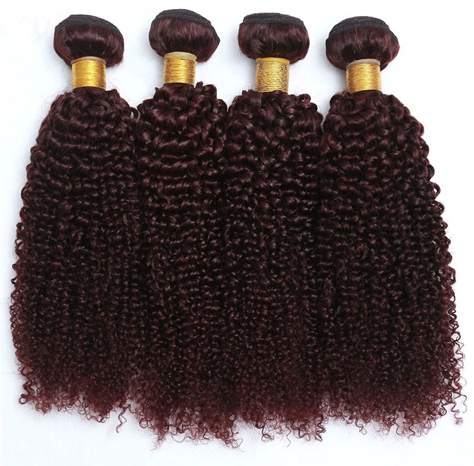 Curly Hair 3 Bundles 99J Colored Remy Human Hair Extensions Burgundy Peruvian Hair Weaving