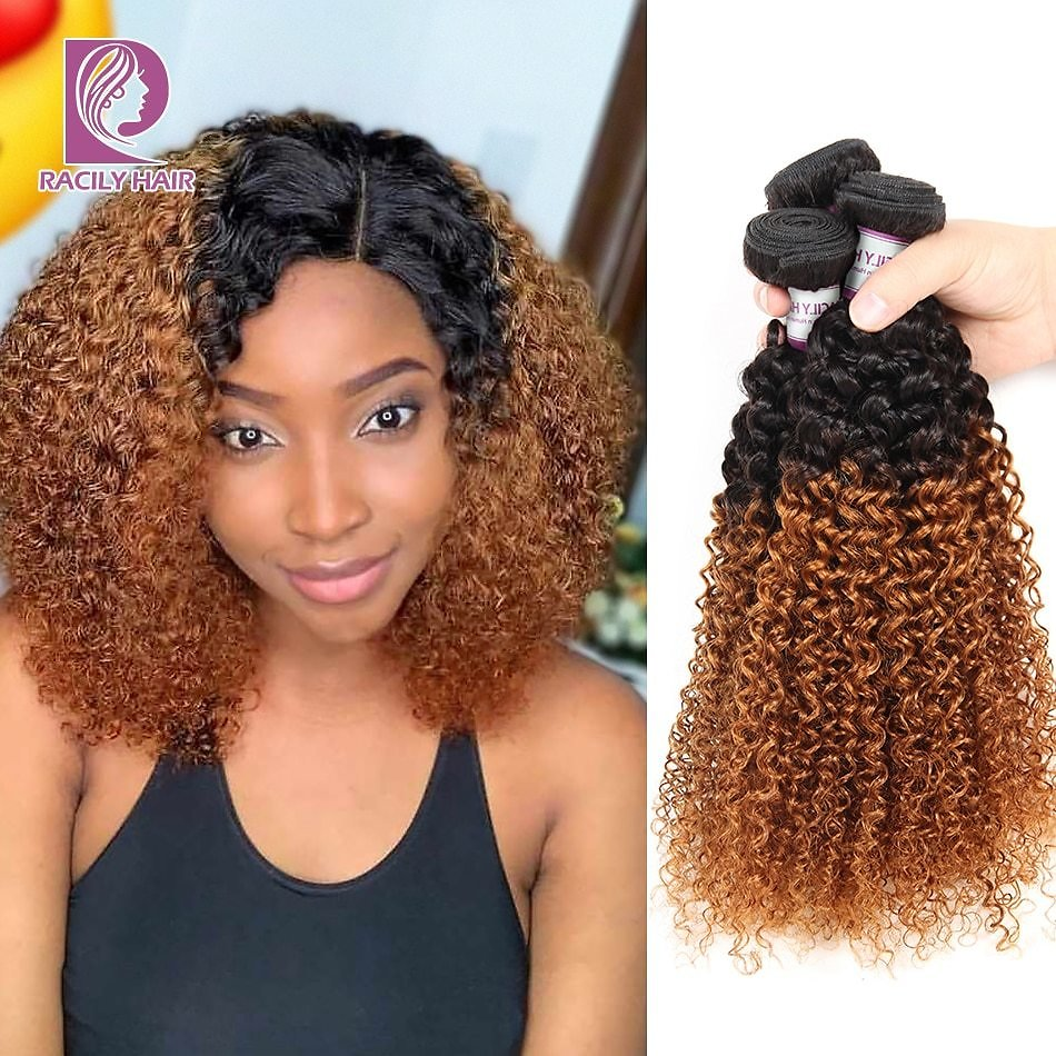 Ombre Peruvian Kinky Curly Hair Brown Ombre 100% Human Hair Extensions 1/3/4 Bundles Remy Hair Weave Bundles