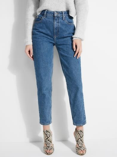 Super-High Rise Mom Jeans At Guess