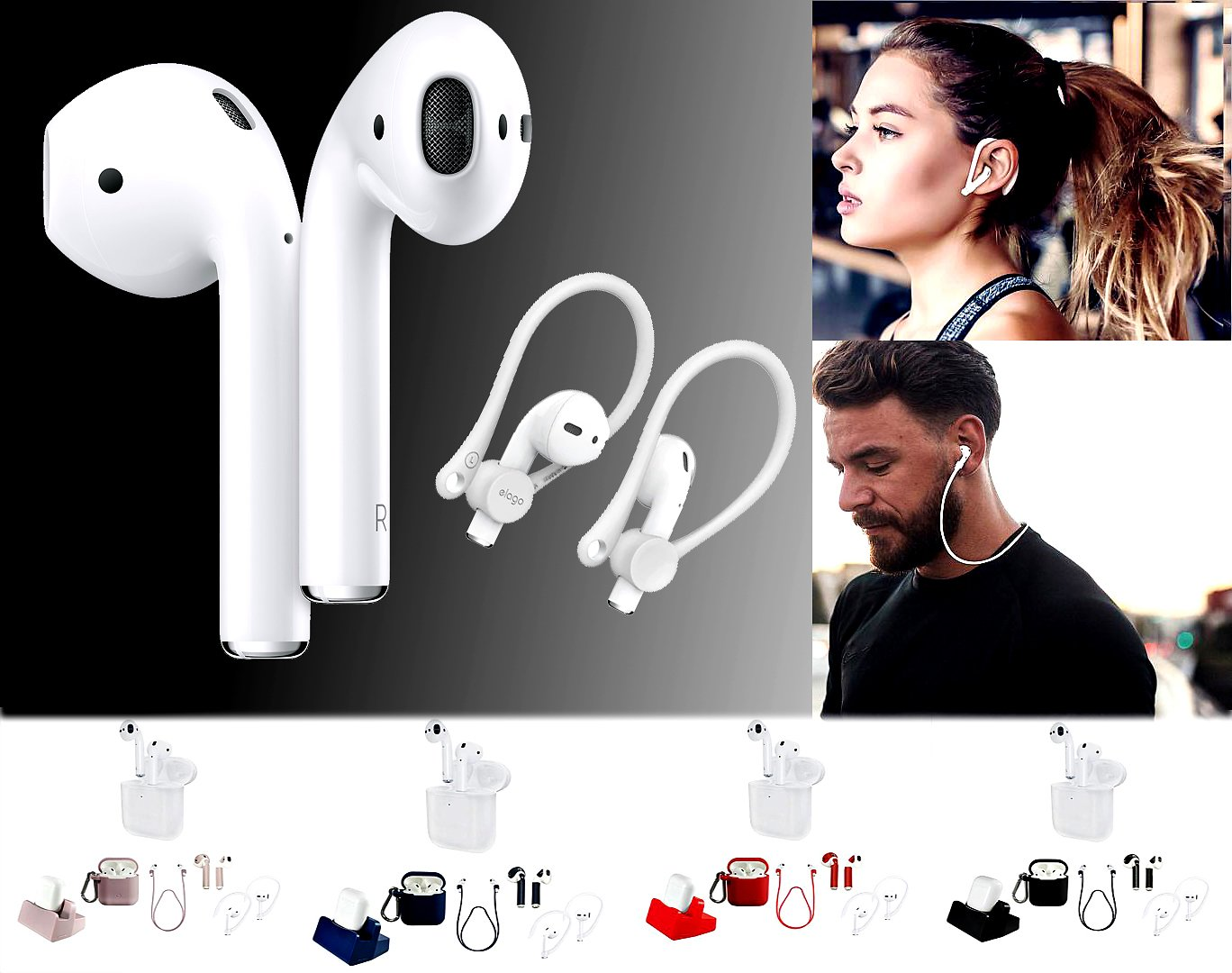 Apple AirPods Wireless Earbuds with Charging Case and Accessories - 9532032 | HSN
