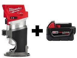 Milwaukee M18 FUEL 18-Volt Lithium-Ion Brushless Cordless Compact Router with Free M18 5.0 Ah Battery-2723-20-48-11-1850