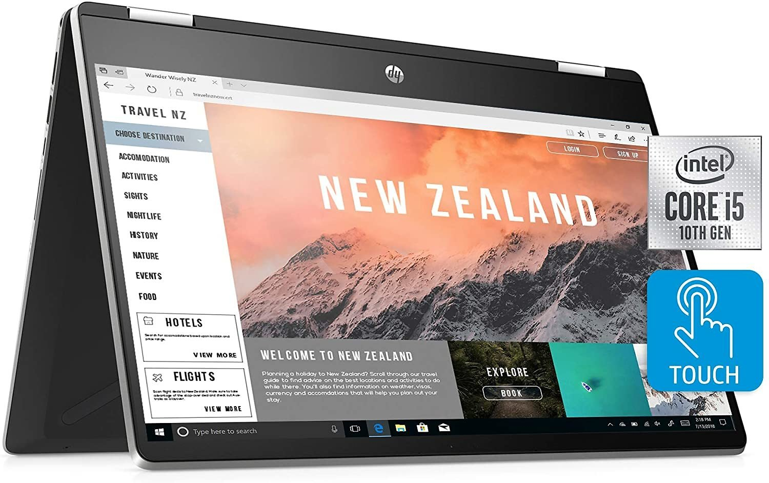 HP Pavilion X360 Convertible 14-inch FHD Touchscreen 2-in-1 Laptop, 10th Gen Intel Core I5-1035G1, 8 GB RAM, 512 GB SSD, Amazon Alexa Voice Compatible, Windows 10 Home (14-dh2011nr, Natural Silver)