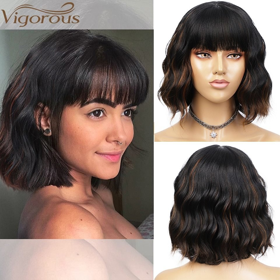 Short Wavy Wig with Bangs Synthetic Wigs for Women Natural Brown Mixed Black Hair Bob Wigs Heat Resistant Fiber
