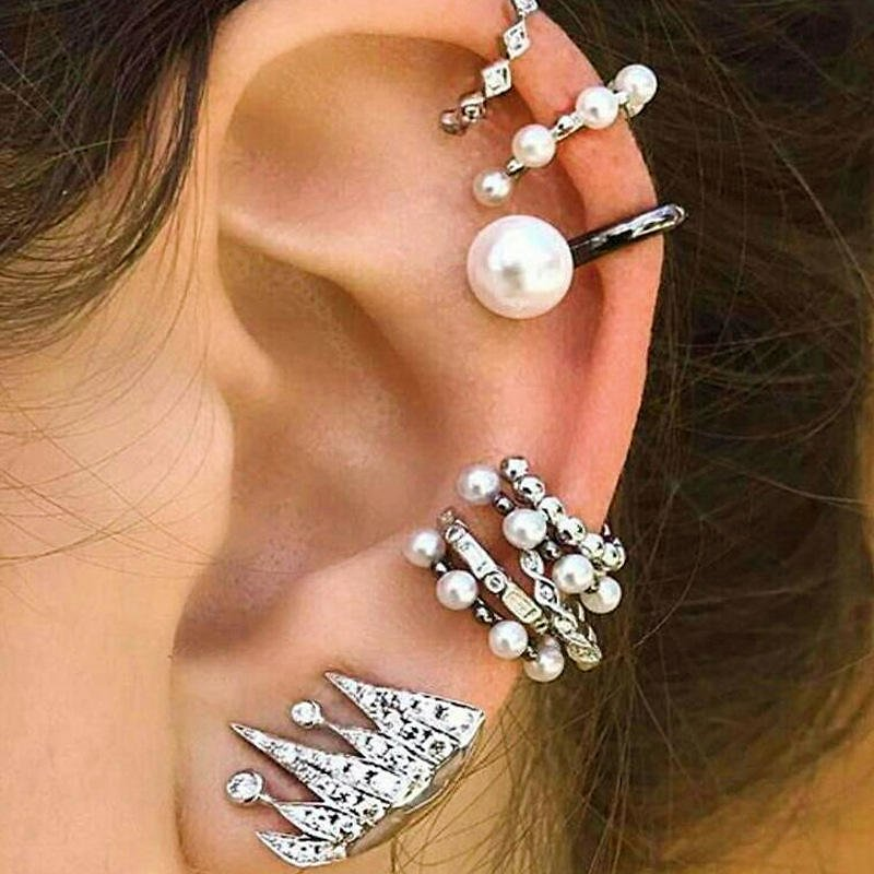 9Pcs Cartilage Earring Set for Women No Piercing Pearl Cuff Diamond Ear Stud - As Picture