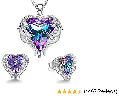 73% OFF CDE Angel Wing Heart Necklaces and Earrings Mothers Day Jewelry Gifts 18K White Gold Plated Jewelry Set for Women Mom