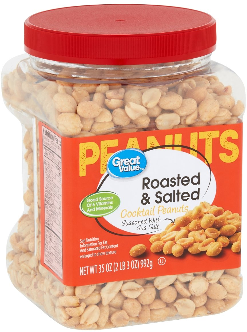 Great Value Roasted & Salted Cocktail Peanuts, 35 Oz.