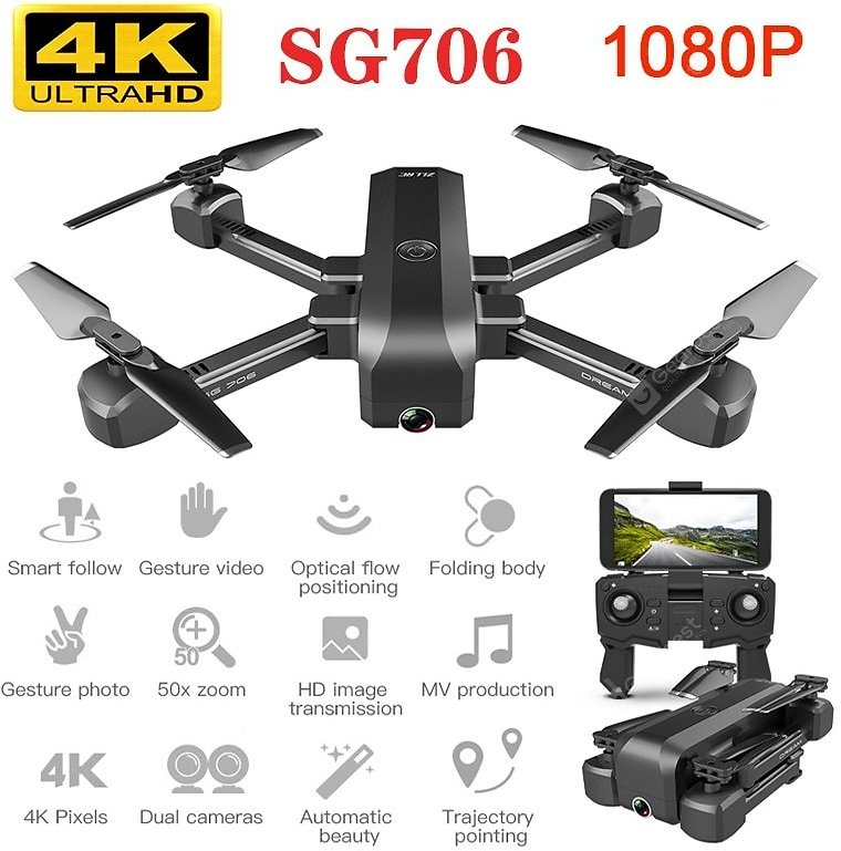 SG706 Drone with 4K WiFi 1080p Dual Camera Quadcopter Optical Flow Stability Height RC Toy Sale, Price & Reviews | Gearbest