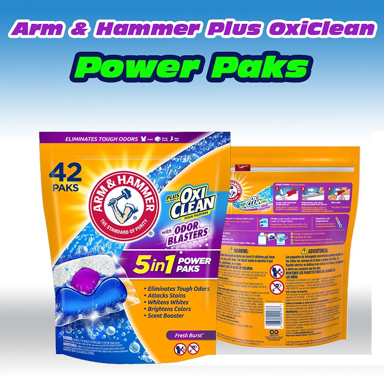 Arm & Hammer Plus OxiClean With Odor Blasters UNIT DOSE LAUNDRY DETERGENT 5-IN-1 Power Paks, 42CT (Packaging May Vary) Arm & Ham