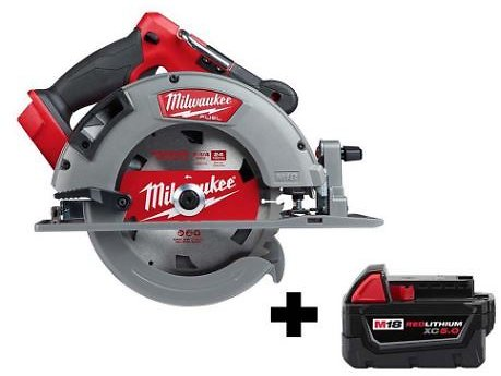 M18 FUEL 18-Volt 7-1/4 In. Lithium-Ion Brushless Cordless Circular Saw with Free M18 5.0 Ah Battery