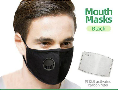 Adults Respirator Mask With Breathing Valve PM2.5 Cotton Activated Carbon Filter Non-medical Masks - United States Black