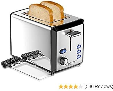 30% OFF 2 Slice Toaster, LOFTer Prime Rated Bread Toasters with LED Display, Mirror Stainless Steel Body and Extra Wide Slots
