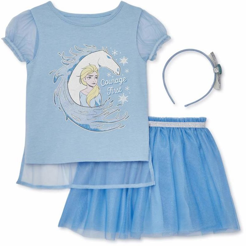 Disney Frozen - Frozen Baby Toddler Girl Cosplay T-shirt with Cape, Skirt & Headband, 3pc Outfit Set