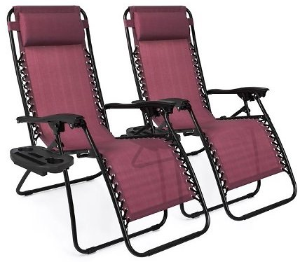 Best Choice Products Set of 2 Adjustable Zero Gravity Lounge Chair Recliners for Patio, Pool w/ Cup Holders - Burgundy