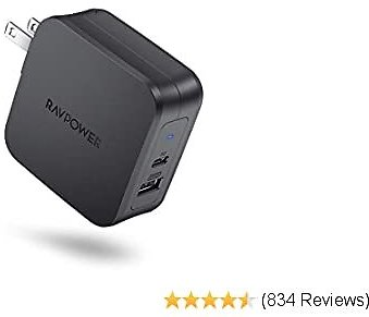 USB C Charger RAVPower 61W PD 3.0 Wall Charger Power Delivery Type C Fast Charger 2 Port Portable Charger for MacBook Pro Dell XPS IPad Pro IPhone 11 Pro Max Pixel 2 XL 3XL Galaxy S10 Nintendo Switch