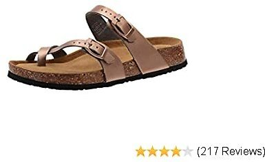 50% OFF Cork Sandals for Women Casual Adjustable Strap Buckle Open Toe Slippers