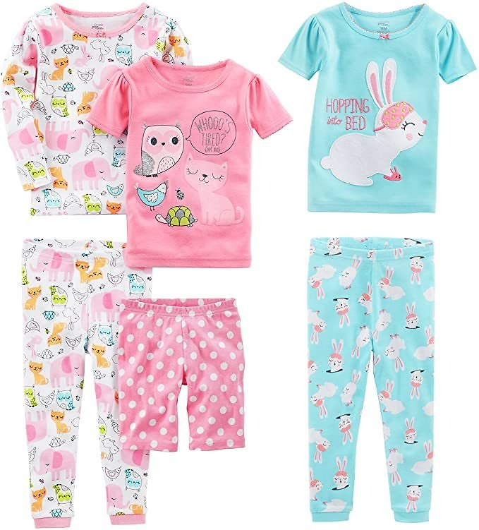 Kid's Value Pack | Pack of 3 Sets: Simple Joys By Carter's Baby, Little Kid, and Toddler Girls' Snug Fit Cotton Pajama Set